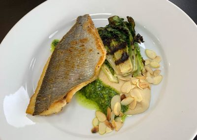 Sea_bass_White_Garlic_pesto_CauliflowerPyree_